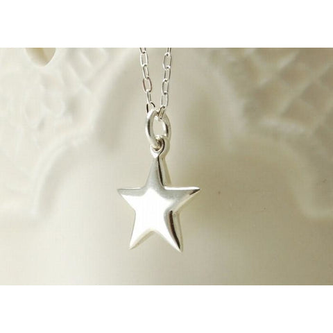 Solid silver large star necklace