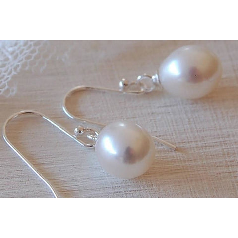 White freshwater pearl drop earrings