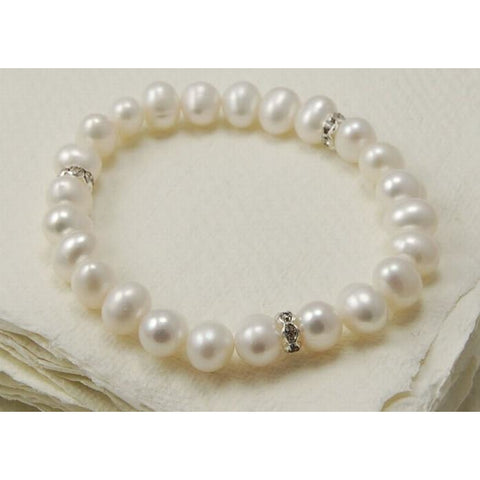 White pearl bracelet with diamante spacers