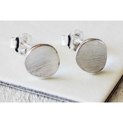 Solid silver brushed disc earrings