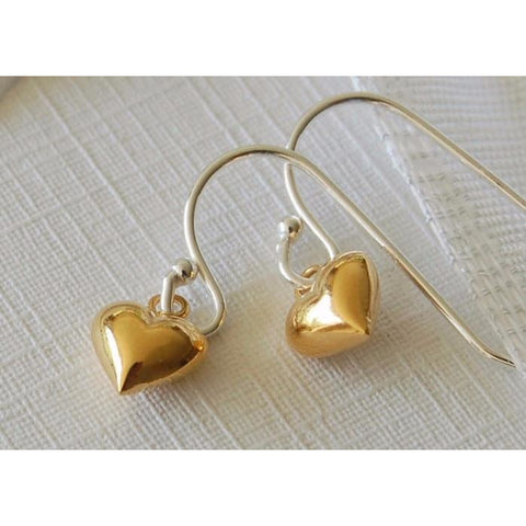 Gold vermeil heart earrings (classic)