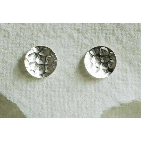 Solid silver hammered disc earrings