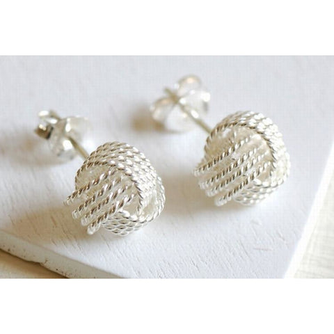 Large solid silver knot earrings