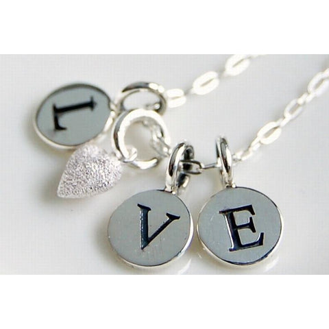 Silver love necklace with frosted silver heart