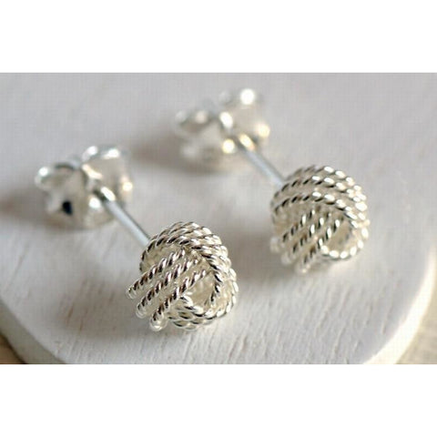 Medium silver knot earrings