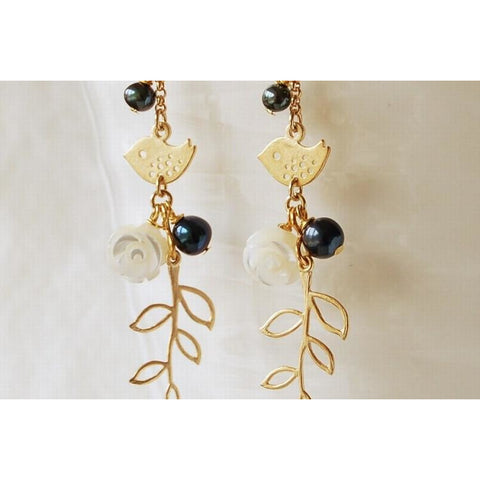 Baby bird drop earrings