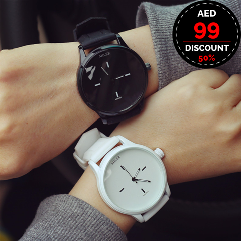 2 in 1 Bundle Offer - MILER Black & White Unisex Wristwatches