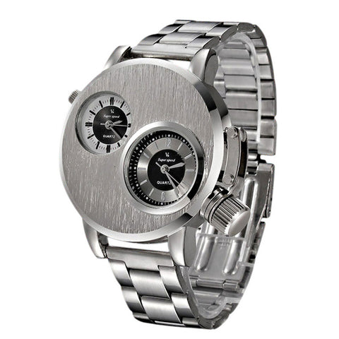 Dual Dial New Stainless Steel Quartz Military Watch