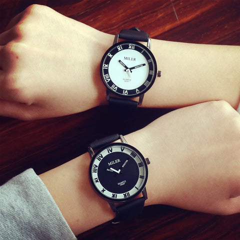 2 In 1 Bundle Offer - Rome Dial  Miler Black & White Unisex Wristwatches