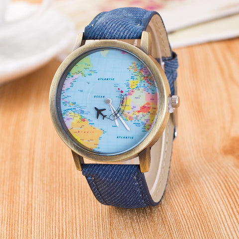 World Map Dial in Jeans Strap Watch