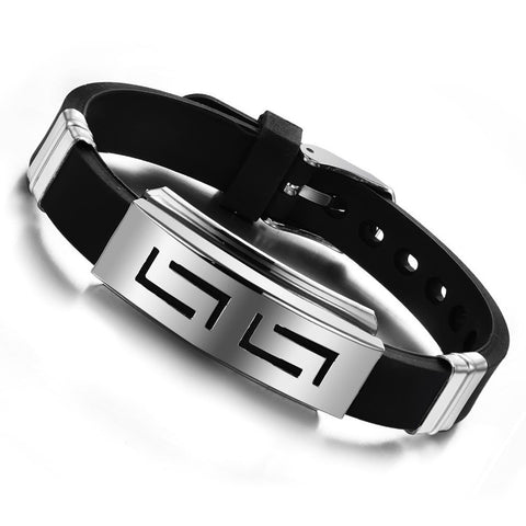 Silver Slippy Hollow Strip Stainless Steel Bracelet