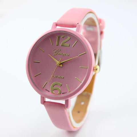 Casual Geneva Leather Strap Watches
