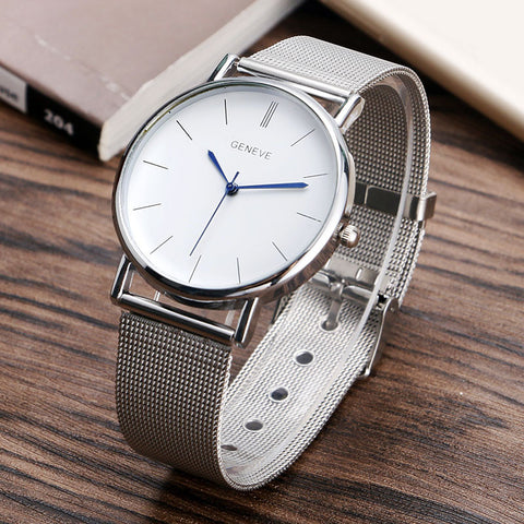 Silver Mesh Casual Geneva Quartz Watch