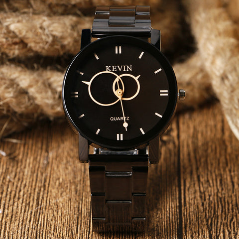KEVIN Stainless Steel Black Round Dial Quartz Watch