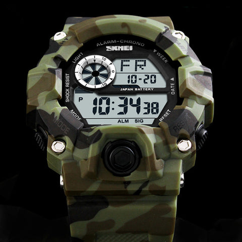 SKMEI Military Sports Watch- Camouflage Military Green