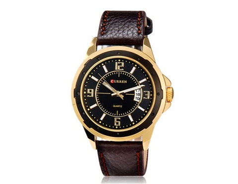 Curren - Gold Black Dial Quartz Wrist Watch