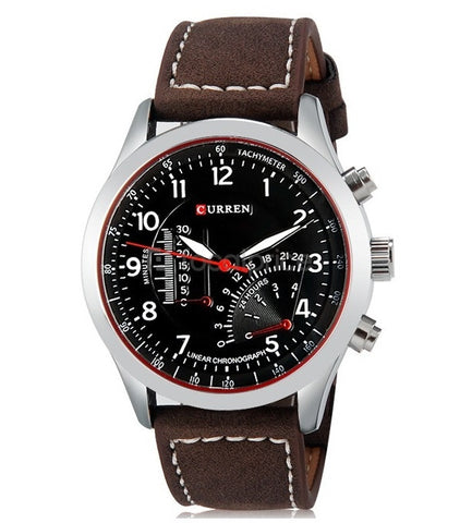 Curren 8152 - Black Dial With Dark Brown Strap