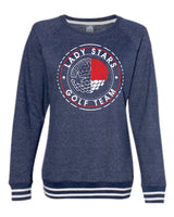 B -  Navy crewneck sweatshirt with white stripes  - LADY STARS GOLF