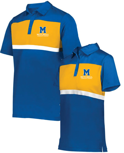 9 - Holloway Royal and Gold Polo (Mens and Womens Cut) - MCS Staff Apparel