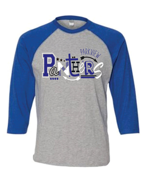 B - Abstract Panther Design on Raglan Baseball Tee - Parkview 2020