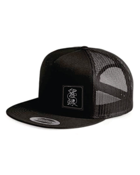 #16 -Jugrox Black Flat Bill Trucker Hat with Black Leather Patch - Shoals 2020