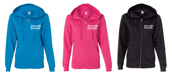 STYLE ENCORE -  LADIES CUT FRENCH TERRY FULL ZIP HOODIE - 3 Color Options