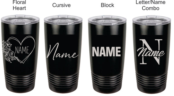 Personalized Name 20 oz Tumbler (10 color options)