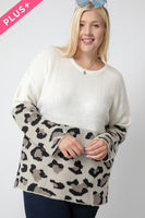Plus Size Cream With Leopard Accent Sweater