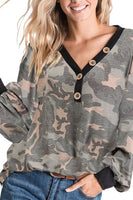 Camouflage Top With Puff Sleeves