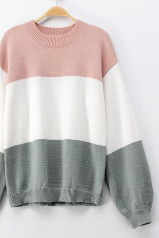 Pink And Ivory Colorblock Sweater