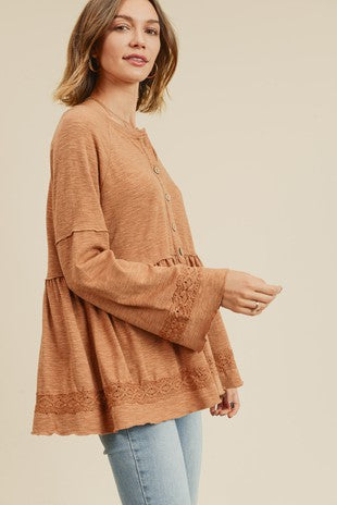 Caramel Bell Sleeve Button Up