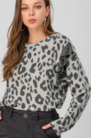 Brown and Charcoal Leopard Ruffle Top