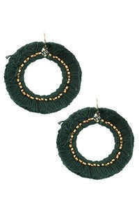 Circle Fringe Earrings With Bead Accent