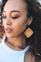 Organic Handmade Wicker Square Earrings