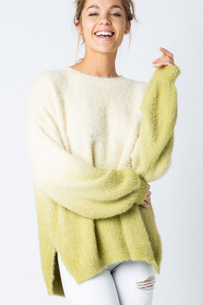 Cream and Green Oversized Dip Dye Sweater