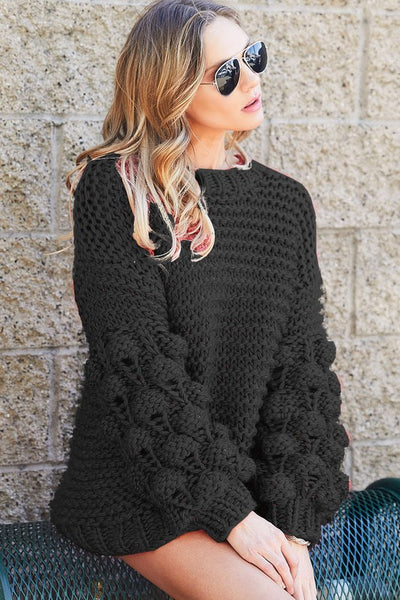 Black Pom Knitted Sweater