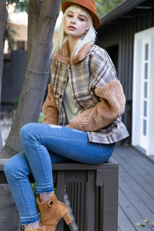 Sherpa Collar Plaid Jacket