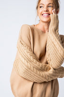 Sand Cable Sleeve Pullover