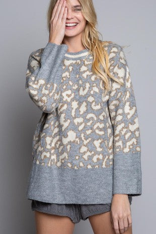 Grey Leopard Pullover Sweater