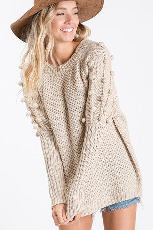 Brown Pom Sleeve Sweater