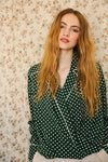 Hunter Green Polkadot Blouse