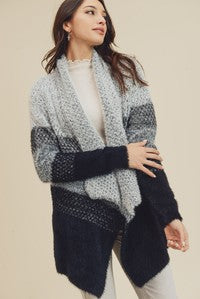 Grey and Black Colorblock Cardigan