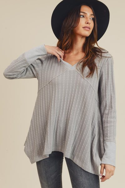 Grey Pointelle Sweater