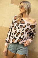 Ivory V-Neck Ivory Leopard Sweater