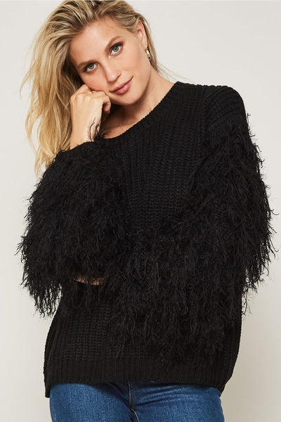 Fringe Sleeve Black Sweater