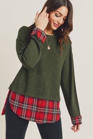 Olive Top With Plaid Detail