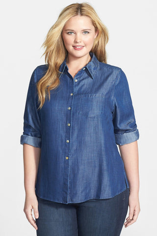 Foxcroft Denim Dark Wash Long Sleeve