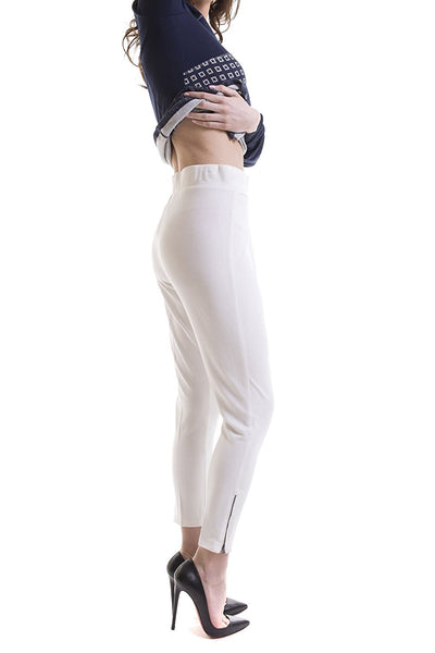 Pull On Stretch Knit Pant With Zipper Detail White