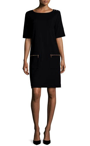 Short Sleeve Solid Zip Pocket Dress Shoulder Detail by Joan Vass Red