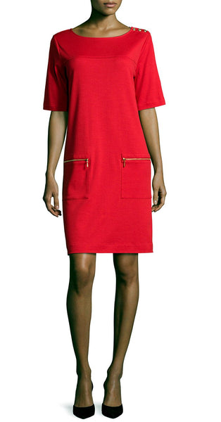 Short Sleeve Red Zip Pocket Dress Shoulder Detail by Joan Vass Red